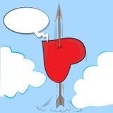 De pijl en het hart Stock Foto