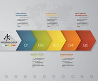 de pijl infographic element van de 5 stappenchronologie kan de 5 stappen infographic, vectorbanner voor werkschemalay-out worden  Royalty-vrije Stock Foto's