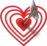 De pijl raakte het hart-doel royalty-vrije illustratie