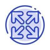 De pijl, Richting, beweegt het Blauwe Pictogram van de Gestippelde Lijnlijn royalty-vrije illustratie