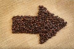 De pijl van koffiebonen Stock Foto's