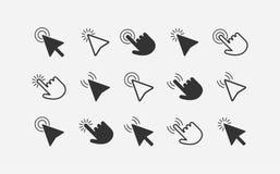 De pijlen en de handenpictogramreeks van de muiscurseur Royalty-vrije Stock Foto's