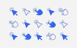 De pijlen en de handenpictogramreeks van de muiscurseur vector illustratie