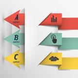 De pijlen met de gegevens, modern infographicsmalplaatje/kunnen in reclame, bedrijfspresentaties worden gebruikt Stock Foto