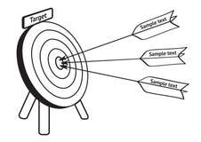 De pijlen raken het doel, vectorillustratie, Eps8 Stock Foto's