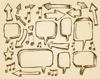 De Pijlen van de de Toespraakbel van de krabbelschets stock illustratie