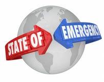 De Pijlen van de noodtoestand rond Wereld Internationale Globale Cris Stock Fotografie