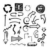 De pijlen van de schetskrabbel Stock Afbeelding