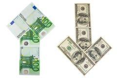 De pijlen van het geld stock afbeeldingen