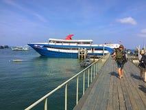 De pijler van de reisboot in koh tao Thailand Stock Foto