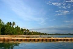 De Pijler van het Strand van Boqueron in Puerto Rico Stock Fotografie