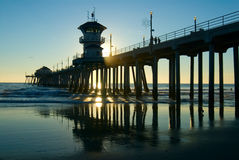 De Pijler van het Strand van Huntington Stock Afbeeldingen