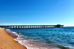 De Pijler van New Port Beach stock fotografie