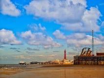 De Pijlers en de Toren van Blackpool Royalty-vrije Stock Afbeelding