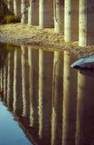 De pijlers van de steen in de rivier Stock Afbeelding