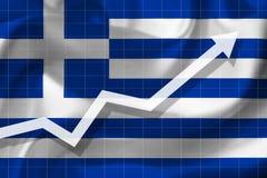 De pijlgroei omhoog op de achtergrond van de vlag van Greec royalty-vrije illustratie
