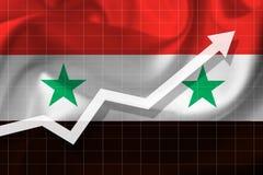 De pijlgroei omhoog op de achtergrond van de vlag van Syrië Stock Afbeelding
