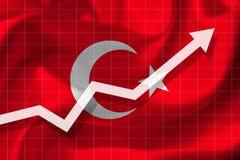 De pijlgroei omhoog op de achtergrond van de vlag van Turkije vector illustratie