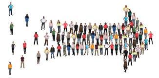 De pijlsucces van de groeps mensen richting marketing teamgroepswerk royalty-vrije stock foto's