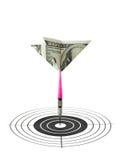 De pijltjes en het doel van het geld Stock Fotografie