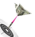 De pijltjes en het doel van het geld Stock Foto's