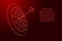 De pijltjes richten en geplakt een pijltje van futuristische veelhoekige rode lijnen en gloeiende sterren voor banner, affiche, g vector illustratie