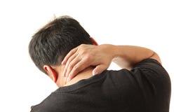 De pijn van de hals Stock Foto's