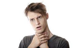 De pijn van de keel Stock Afbeeldingen
