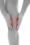 De pijn van de knie Stock Afbeeldingen
