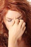 De pijn van de sinus stock afbeeldingen