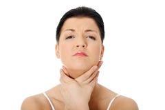 De pijnconcept van de keel. stock afbeeldingen
