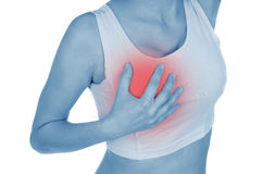De pijnlijke borst, getoond rood, houdt overhandigd Stock Afbeeldingen