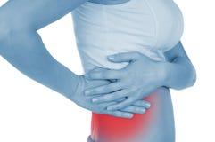 De pijnlijke kant, longontsteking, getoond rood, houdt overhandigd stock afbeeldingen