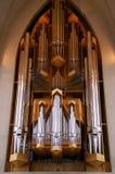 De Pijpen van het Orgaan van de kerk Stock Foto's