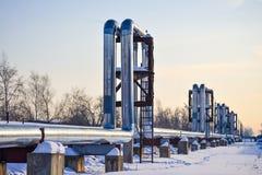 De pijpen van de Overgroundhitte Pijpleiding boven grond, die hitte voor het verwarmen van de stad leiden De winter sneeuw royalty-vrije stock afbeelding