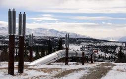 De Pijpleiding die van de Olie van Alaska de Pas van Isabel ingaat Stock Foto