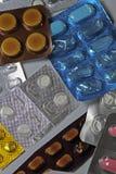 De pillen in een blaar pakt in Royalty-vrije Stock Foto's