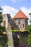 De Pillen oud kasteel van achtergrondlandschapscesu in Letland royalty-vrije stock afbeeldingen