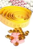 De pillen van het meetlint en van het dieet Royalty-vrije Stock Fotografie