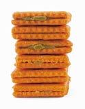 De pindakaasstapel van crackers Royalty-vrije Stock Fotografie