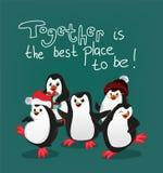 De pinguïn met de kaartvector van vriendenkerstmis samen is de beste plaats om te zijn vector illustratie