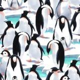 De pinguïn` s troep van het waterverf naadloze patroon witn op de sneeuw Stock Afbeeldingen