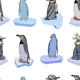 De pinguïnen op ijsijsschollen Vector patroon Kerstmis Royalty-vrije Stock Afbeeldingen