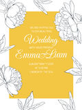 De pioen bloeit gele het malplaatje van de huwelijksuitnodiging Stock Afbeelding
