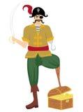 De piraat bevond zich houdend een getrokken zwaard Stock Foto's