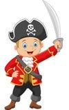 De piraat die van de beeldverhaalkapitein een zwaard houden Stock Afbeeldingen