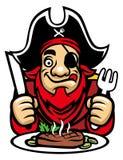 De piraat eet lapje vlees Stock Foto's