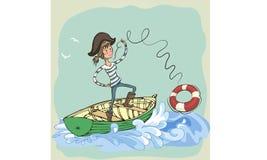 De piraat werpt een het levensring Plagiër Meisje Het meisjesslingering van de beeldverhaalpiraat Stock Fotografie