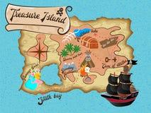 De Piraatkaart van het schateiland voor Zoektocht royalty-vrije illustratie