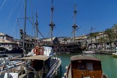 De piraatschip van IL Galeone Neptunus in Genua, Italië royalty-vrije stock fotografie